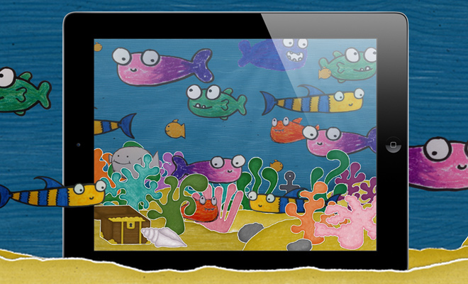 squiggle fish website app landing page children