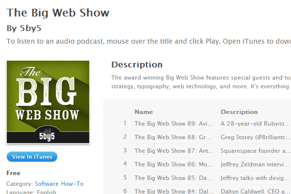 the big web show showcase interface design