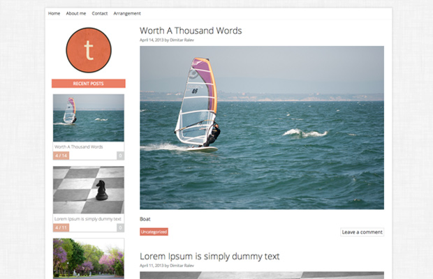 simple flat minimal wordpress theme tuesday