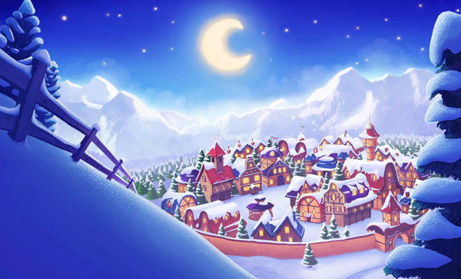 winter village illustration painting background