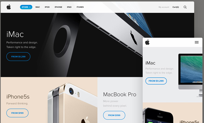 apple website store redesign responsive layout