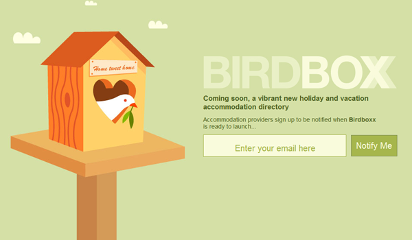 Signup e-mail landing page for birdboxx