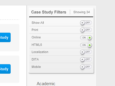 case study filter switches website layout