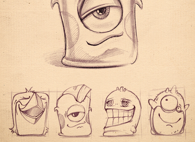 funny character monsters icons sketch progress