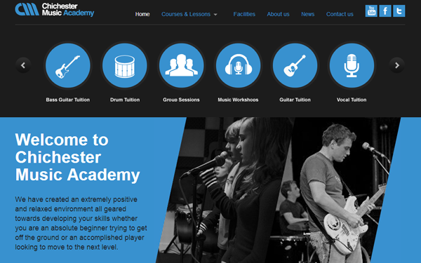 chichester music academy website musicians layout