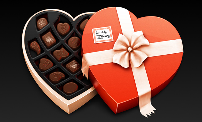 chocolate candy box artwork vector icon