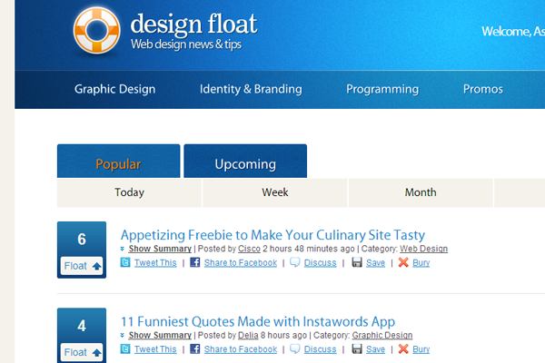 social news pligg community DesignFloat web design articles