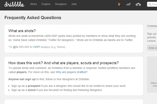 Online Dribbble FAQ frequently asked questions