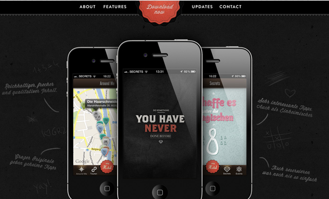 graz secrets iphone app landing page design