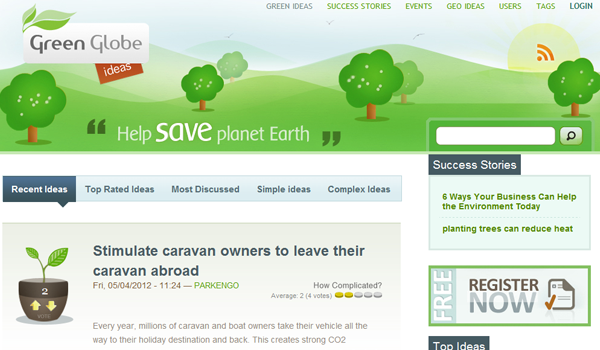 Website green globe ideas