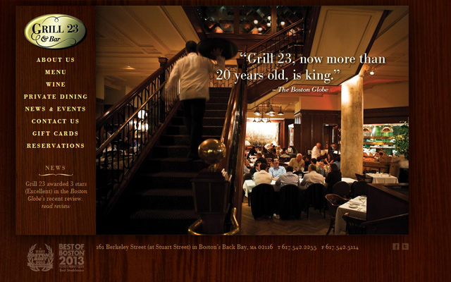 grill 23 bar restaurant dark homepage layout