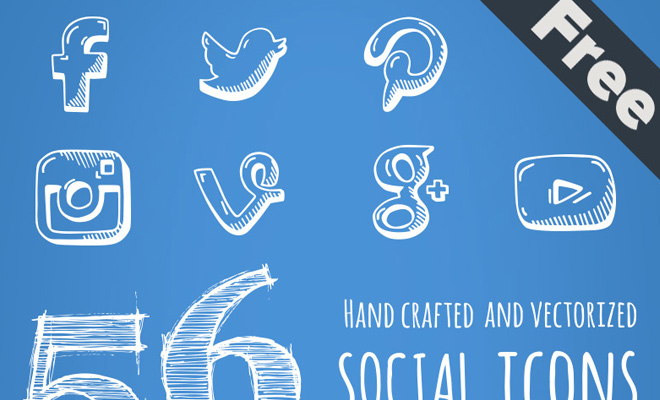 handdrawn social icons vector freebie