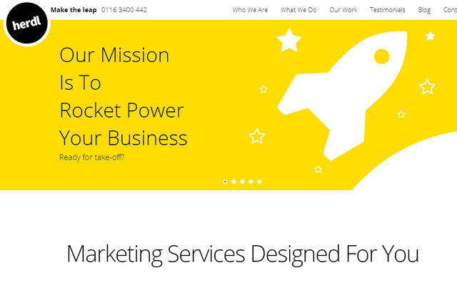 herdl marketing agency yellow website