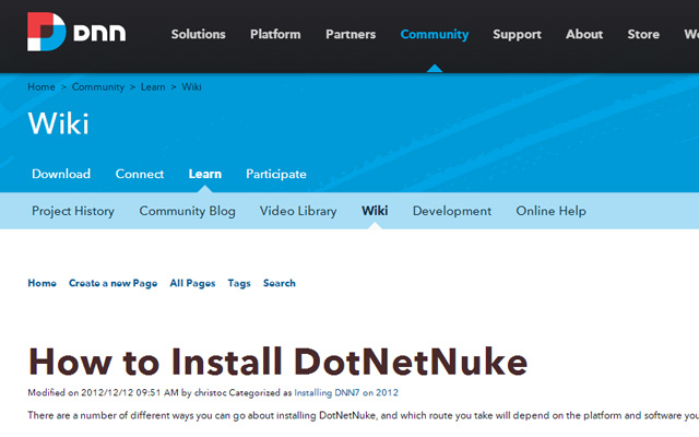 how to install dotnetnuke cms dnn asp.net