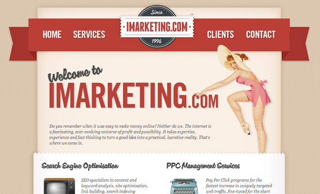 imarketing agency 1996 layout retro