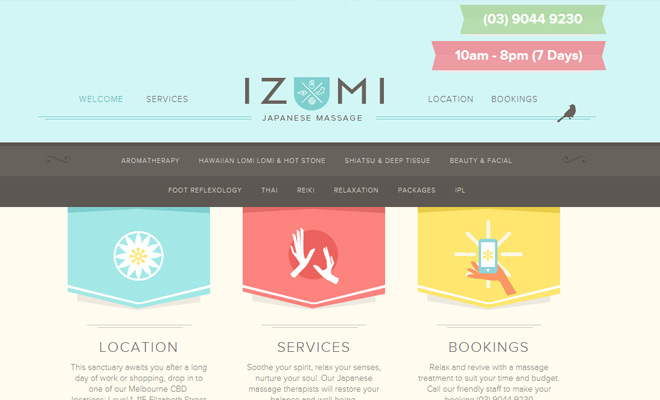 izumi massage pastel colored website