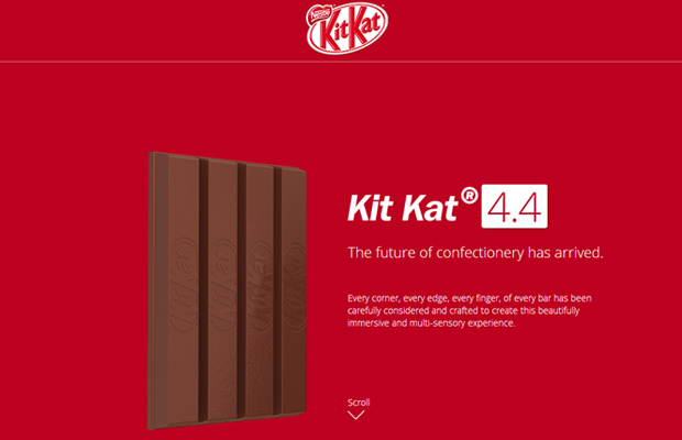 red chocolate candy kit kat website layout