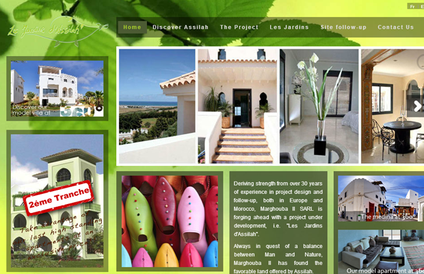 marghouba website layout interface inspiring green design
