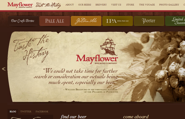 mayflower brewing company beer website brown