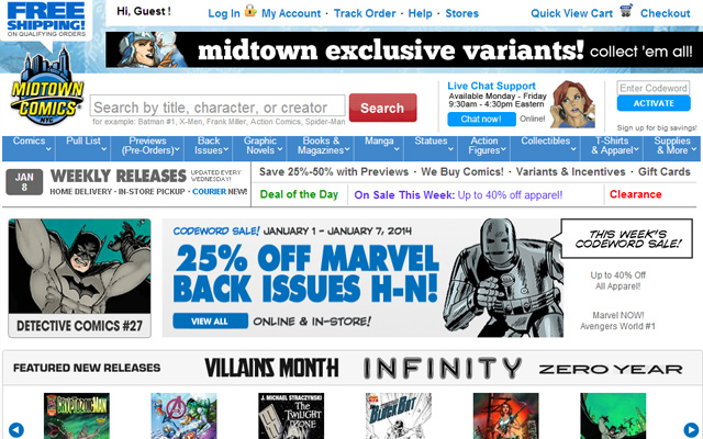 midtown comics homepage layout inspiring ui design