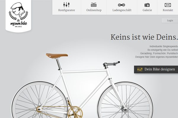 Custom Bicycle webshop German ecommerce website layout