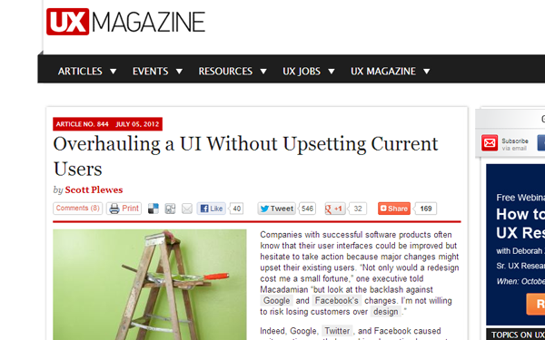 UX Magazine user interface redesign