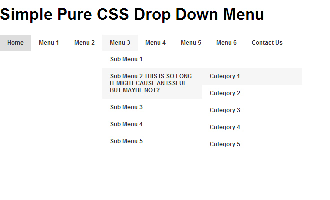 pure css menu navigation design dropdown