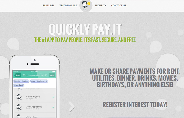startup quickly pay it website homepage