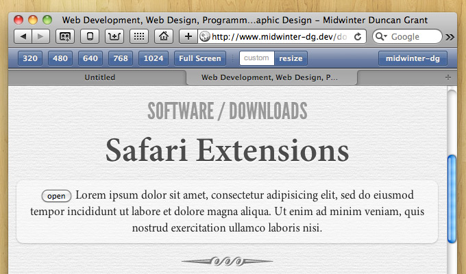 responsive resize safari browser extension