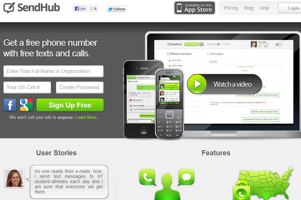 Send Hub SMS Texting media website