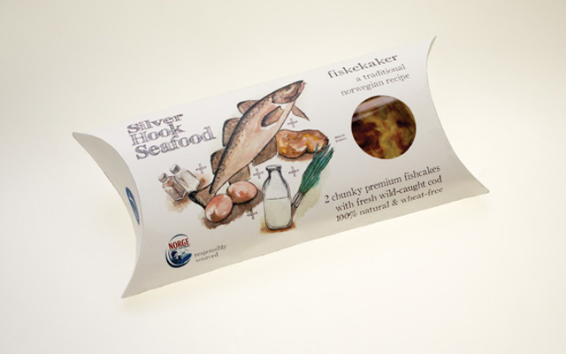 silver hook seafood design packaging branding