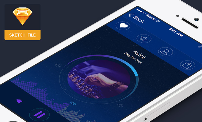 music player iphone app ui sketch