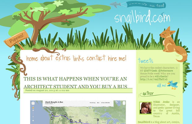 snailbird blue layout interface website