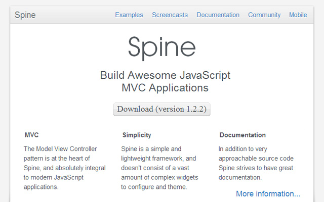 spine js framework mvc project