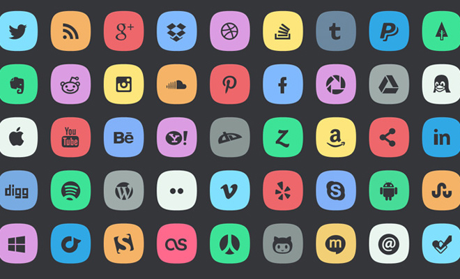 colorful subtle social media icons