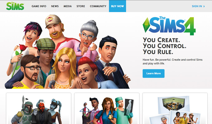 the sims video game website homepage