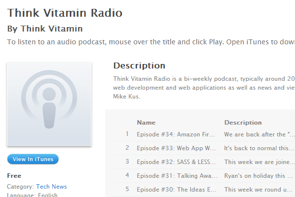 think vitamin radio podcast ui design