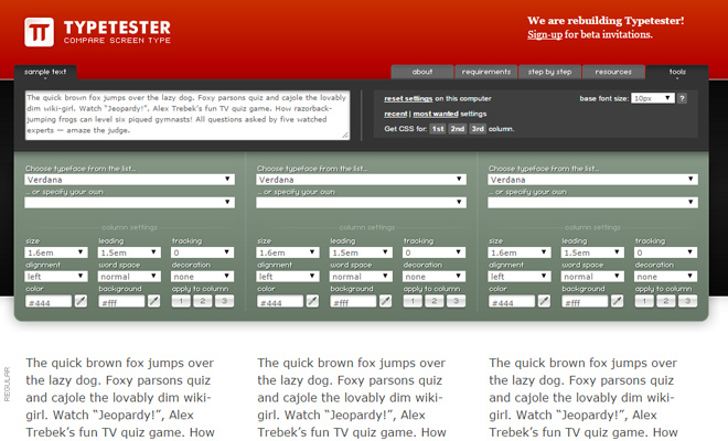 typetester compare typography tool