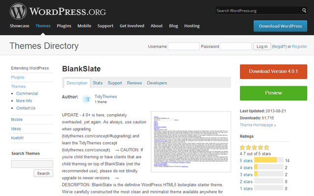 wordpress open source free theme blankslate