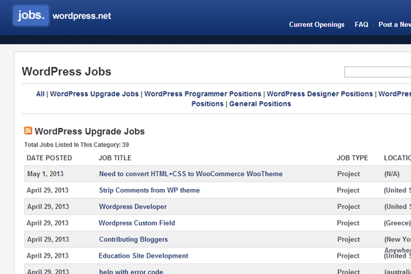 wordpress jobs board interface layout