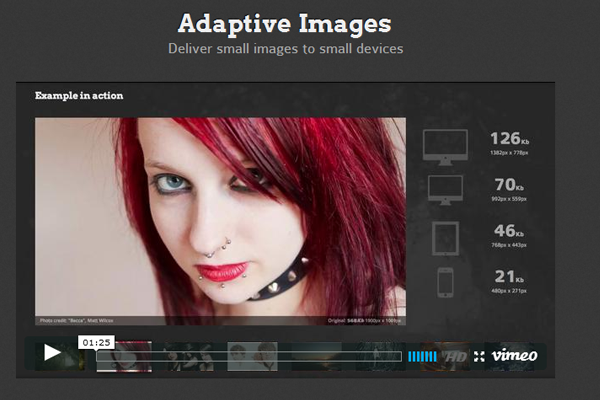 Adaptive images for web design layout