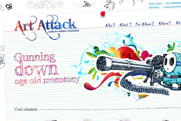 art attackk website layout illustrations sketches