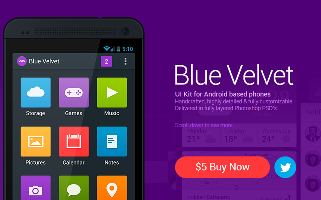 dark purple app website layout bluevelvet