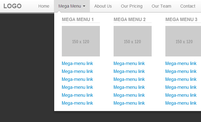 bootstrap mega navigation menu interface