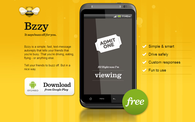 yellow bee bzzy app mobile website landing page