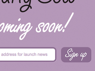 Coming Soon purple website signup form