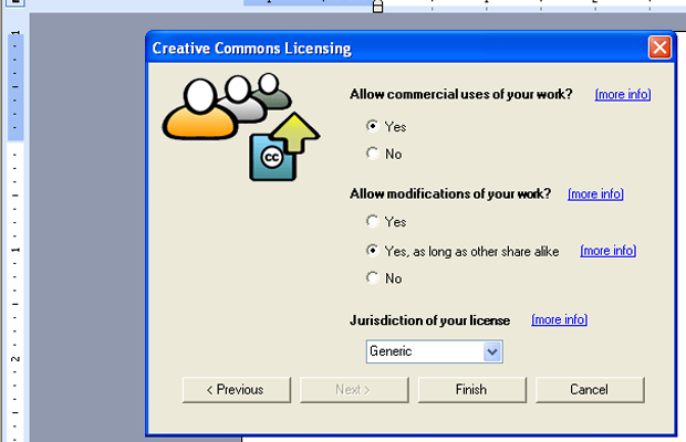 creative commons license addin microsoft office