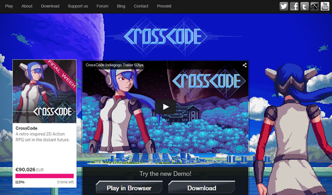 cross code website homepage game