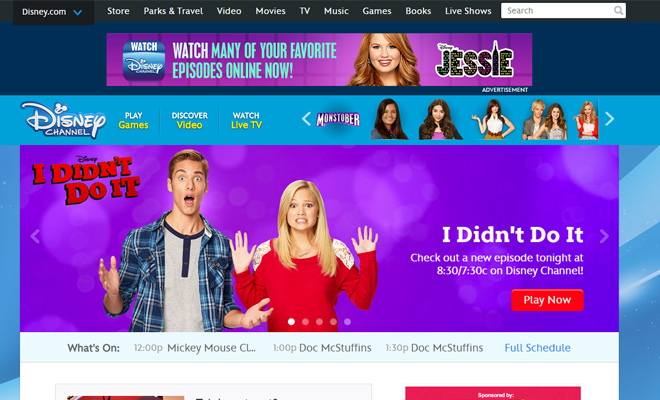 the disney channel website homepage