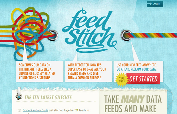 feedstitch blue website layout startup homepage